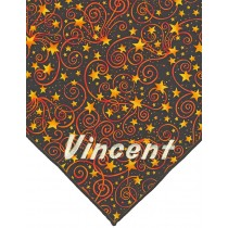 Dog Bandana- Starry night theme.  Black background with gold and orange stars